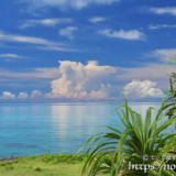 べた凪の青い海と入道雲