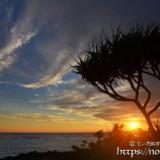水平線間近の夕陽