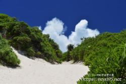 帰り道の砂山と入道雲