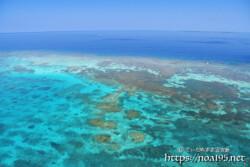 断崖の先のサンゴ礁の海-三角点より-