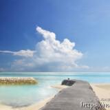 海へのびる防波堤と入道雲