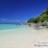 べた凪の青い海とビーチ
