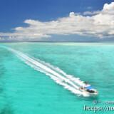 池間ブルーの海を疾走するボートと波の軌跡