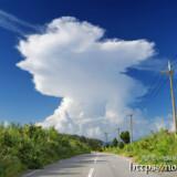 道の先にそびえる巨大な入道雲
